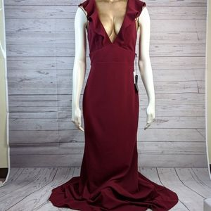 Lulu's Ruffle Deep V-Neck Burgundy Gown Large